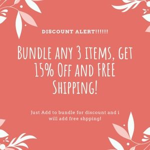 Bundle any 3 items and get 15% off PLUS FREE SHIP!
